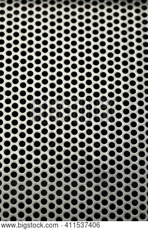 Perforated Metal Sheet. Metal Mesh With Round Holes. Metallic Shiny Texture With Round Holes. Perfor