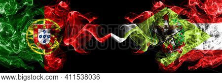 Portugal, Portuguese Vs Brazil, Brazilian, Santa Catarina Smoky Mystic Flags Placed Side By Side. Th