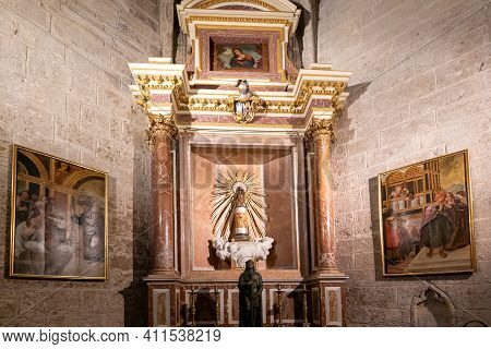 View Of The Chapel Of The Pilar Virgin In The Valencia Cathedral