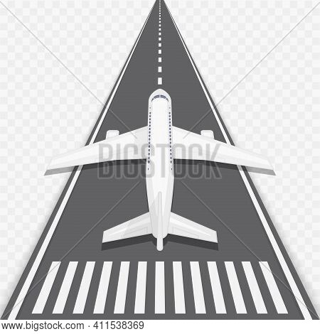 Airplane And Airport Elements In Top View. Vector Illustration Of An Airplane On A Runway. Travel Co
