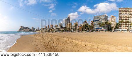 Panorama View Of The Deserted Beach And Skyline Of Benidorm