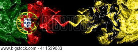 Portugal, Portuguese Vs Flanders, Flemish Smoky Mystic Flags Placed Side By Side. Thick Colored Silk