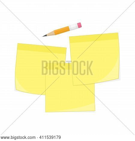 Set Of Yellow Memo Reminder Papers And Pencil. Paper Sticky Notes, Ready For Your Message. Sticky No