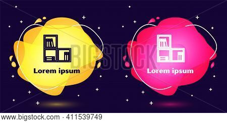 Set Line Shelf With Books Icon Isolated On Blue Background. Shelves Sign. Abstract Banner With Liqui