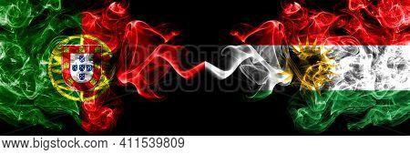 Portugal, Portuguese Vs Kurdistan, Kurdish, Kurds Smoky Mystic Flags Placed Side By Side. Thick Colo
