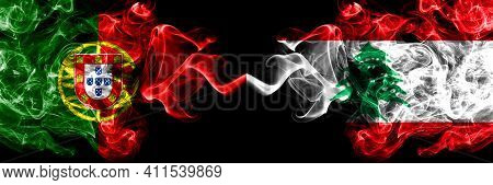 Portugal, Portuguese Vs Lebanon, Lebanese Smoky Mystic Flags Placed Side By Side. Thick Colored Silk