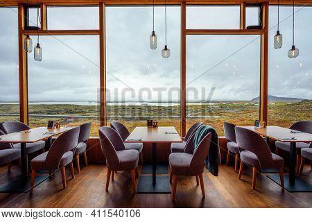 Myvatn, Iceland - September 10, 2019 : Restaurant Interior Of Fosshotel Myvatn, A Four-star Hotel In