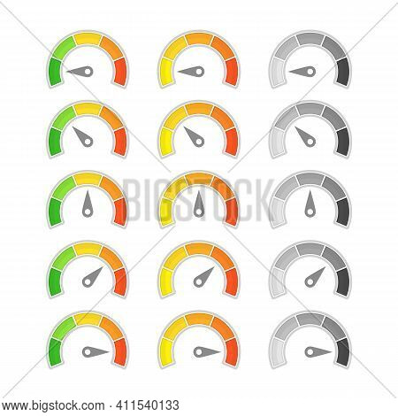 Speedometer With Arrow Icon. Collection Of Colorful Infographic Gauge Element. Speedometers Or Ratin