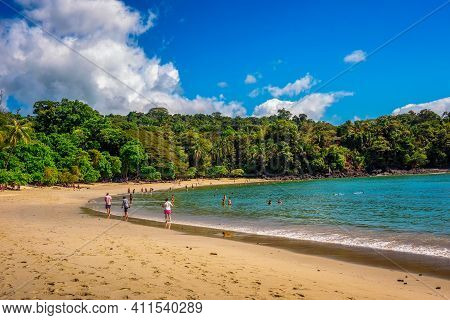 Manuel Antonio, Costa Rica - January 14, 2020 : Tropical Beach In Manuel Antonio National Park With