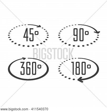 Set Of Angles 45, 90, 180 And 360 Degrees Icons. Arrows Rotation Circle Symbol Set. Geometry Math Si
