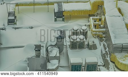 Snow-covered Outdoor Insnow-covered Outdoor Industry System Of Ventilation. The External Units Of Th