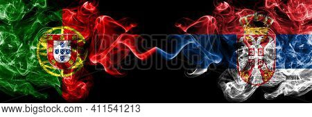 Portugal, Portuguese Vs Serbia, Serbian Smoky Mystic Flags Placed Side By Side. Thick Colored Silky