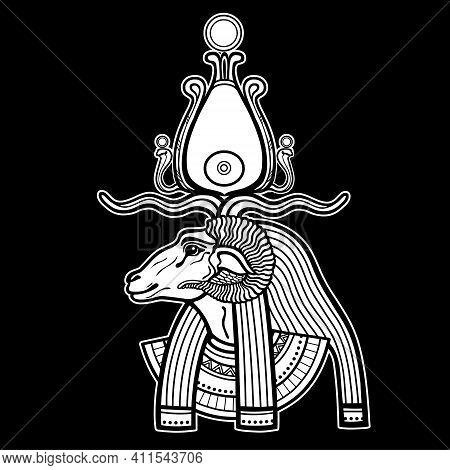 Animation Portrait Ancient Egyptian God Khnum. Deity Of Nile Source, God With Ram. Profile View.  Ve