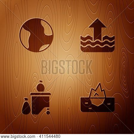 Set Iceberg, Earth Globe, Full Dustbin And Rise Water Level On Wooden Background. Vector