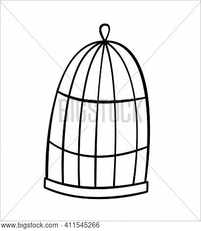 The Bird Cage Is Empty With A Dome. Doodle Isolated Outline Objects On White.