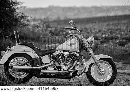 Lodz, Poland - September 23, 2020: Black And White Photo Of Harley-davidson Fat Boy, Motorcycle Deta
