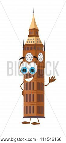 Funny Travel Objects Collection: Funny Big Ben Tower On White Background, Flat Design Vector Illustr