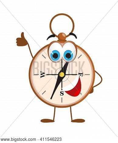 Funny Travel Objects Collection: Funny Compass On White Background, Flat Design Vector Illustration