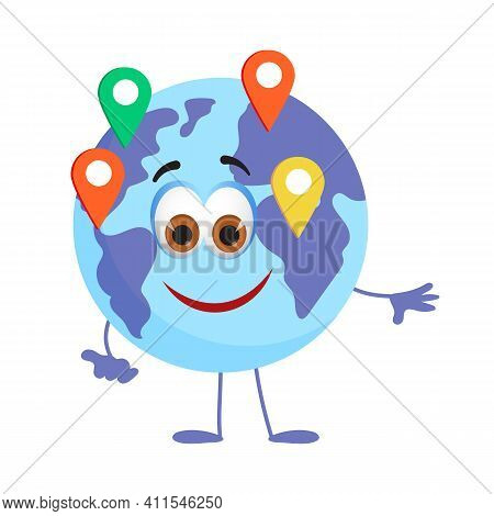 Funny Travel Objects Collection: Funny Earth Globe On White Background, Flat Design Vector Illustrat
