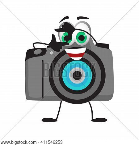 Funny Travel Objects Collection: Funny Photo Camera On White Background, Flat Design Vector Illustra