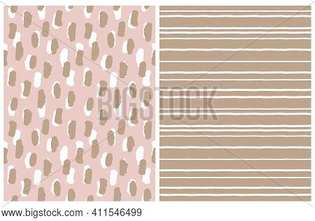 Simple Geometric Vector Pattern With White Stripes On A Brown Background And White And Brown Spots O