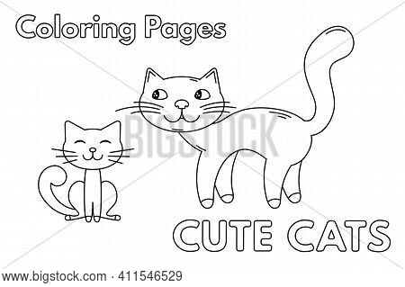 Cartoon Illustration Of Mommy Cat With Cute Little Kitten. Vector Coloring Book Pages For Children