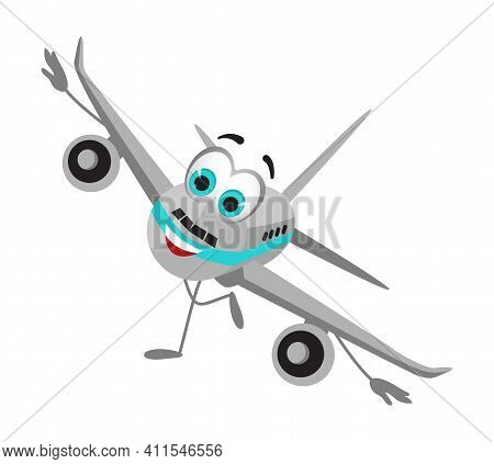 Funny Travel Objects Collection: Funny Airplane On White Background, Flat Design Vector Illustration