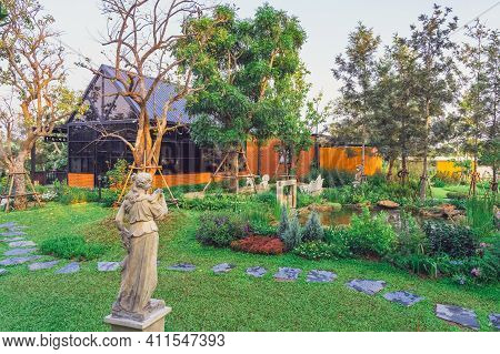 Kanchanaburi,thailand - February 14, 2021 : Beautiful Garden Decoration Of Cafe Amazon Coffee Shop A