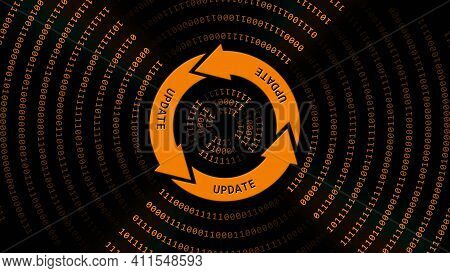 Update Lettering On Update Sign In Center Of Binary Code Circles - Graphic Elements In Orange On Bla