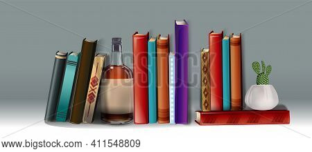 Realistic Collection Of 3d Books With Colorful Cover. Mock Up Of Books. Stack Of Colored Books With