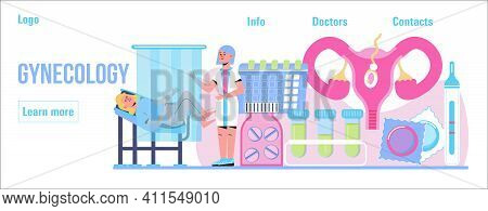 Gynecologist Concept Vector For Medical Landing Page. Gynecology Specialists Treat Patient. Family P