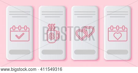 Set Line Calendar With 8 March, Coffee Cup With 8 March, Two Linked Hearts And Calendar With 8 March