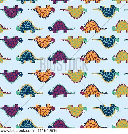 Cartoon Colorful Stegosaurus Dinosaurs Seamless Pattern Vector. Funny Smiling Motley Dinosaurs On Li