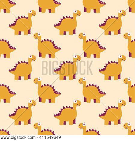 Warm Orange Dinosaur Childish Seamless Pattern Vector. Funny Friendly Dino By Orange, Purple And Whi
