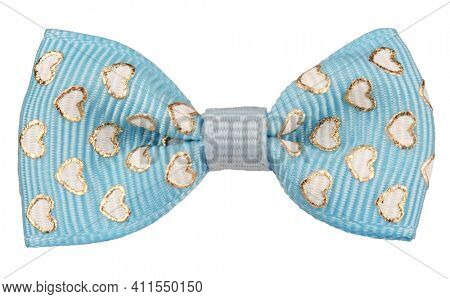 Hair bow tie blue with golden white hearts of  love isolated on white background