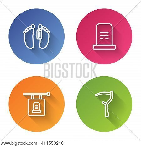 Set Line Dead Body, Grave With Tombstone, Signboard And Scythe. Color Circle Button. Vector