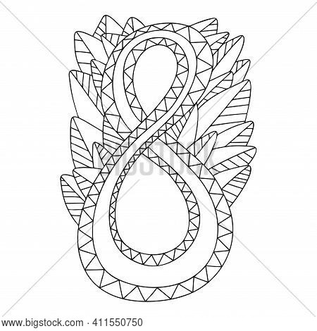 International Women Day Coloring Book Page Vector. Romantic Eight Number With Leaves Ornamental Card