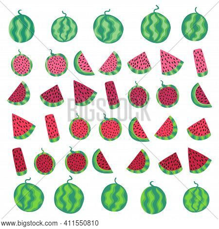 Big Watermelon Set White Isolated Stock Vector Illustration. Cartoon Watermelon Fruits Whole And Sli