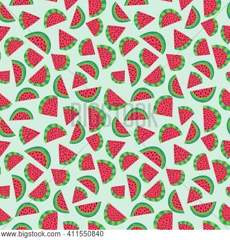 Watermelon Slices Green And Red Seamless Pattern Vector. Summer Cartoon Juicy Fruit Slices Pattern.