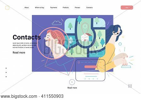 Medical Insurance Web Page Template- Clinic Contacts -modern Flat Vector Concept Illustration Of Con