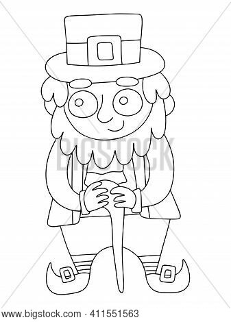 Cartoon Leprechaun In Hat And Coat With Shillelagh Stock Vector Illustration. Funny Old Irish Folklo