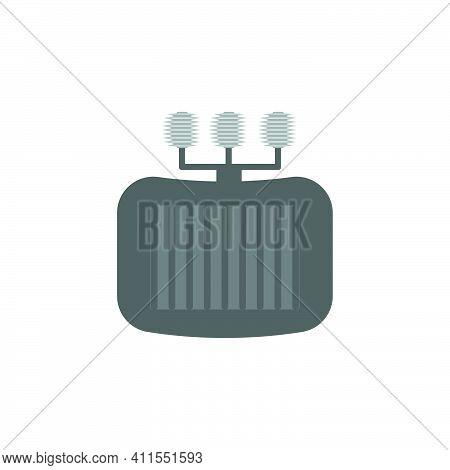 Flat Distribution Transformer Icon. Rectifier Transformer Symbol. Logo Design Element.