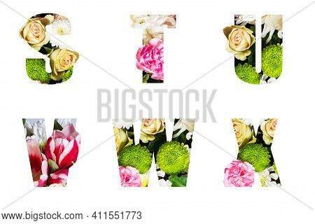 Floral Letters. The Letters S, T,u, V, W, X Are Made From Colorful Flower Photos. A Collection Of Wo