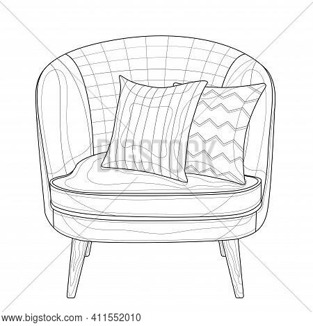 Armchair With Cushions.coloring Book Antistress For Children And Adults. Illustration Isolated On Wh