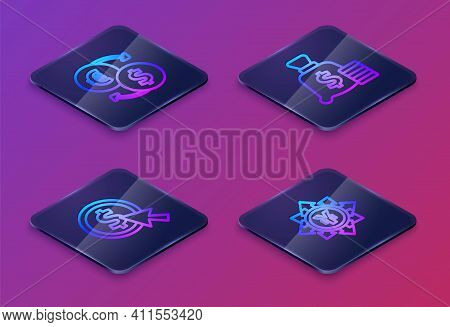Set Isometric Line Money Exchange, Coin Money With Dollar, Bag And Yen. Blue Square Button. Vector