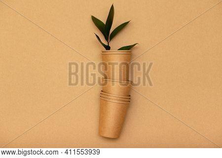 Zero Waste, Disposable Paper Tableware, Top View. Plastic Free Concept