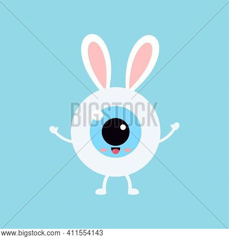 Easter Cute Bunny Eye Ball Icon. Ophthalmology Eyeball Character With Easter Bunny Ears Costume. Fla