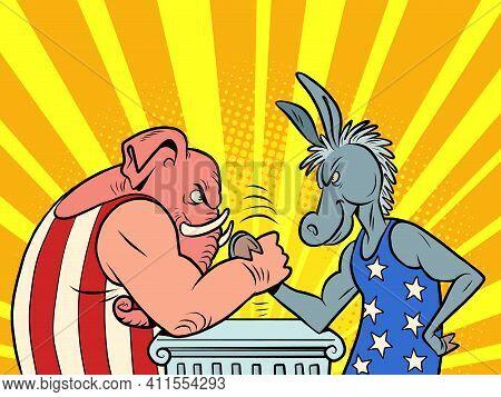 Republicans And Democrats Donkey And Elephant. Comic Book Cartoon Pop Art Hand Drawing Illustration