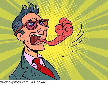 Businessman Tongue Mouth Gesture Fist Of Anger. Comic Book Cartoon Pop Art Hand Drawing Illustration