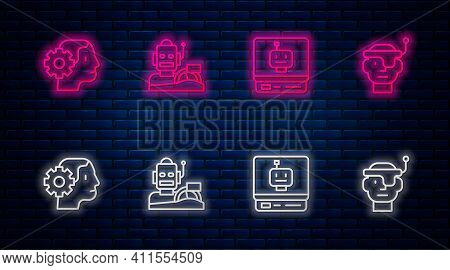 Set Line Robot Humanoid Driving A Car, , Humanoid Robot And Smart Glasses. Glowing Neon Icon On Bric